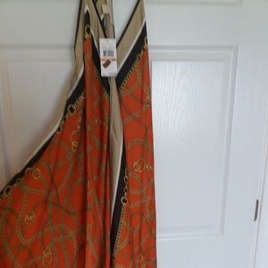 Michael KORS size S /M orange  gold long dress NWT